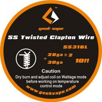 GeekVape Twisted Clapton SS316 Wire (0.32mm x 2/twisted + 0.25mm) 3m Rolle