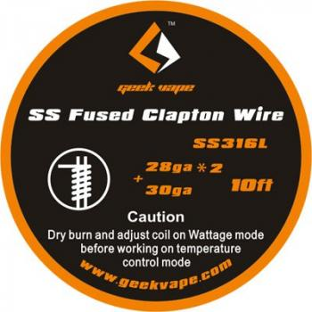 GeekVape Fused Clapton SS316 Wire (0.32mm x 2/Paralleled + 0.25mm) 3m Rolle